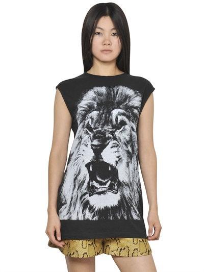 Stella Mccartney Sleeveless Cotton Jersey Lion T-Shirt In Black