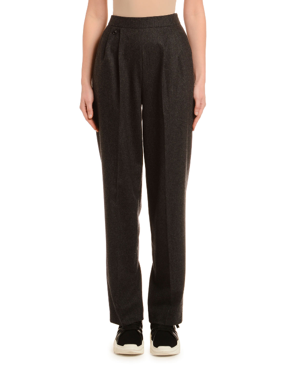 Agnona Straight-Leg Wool Cashmere Flannel Pants In Charcoal