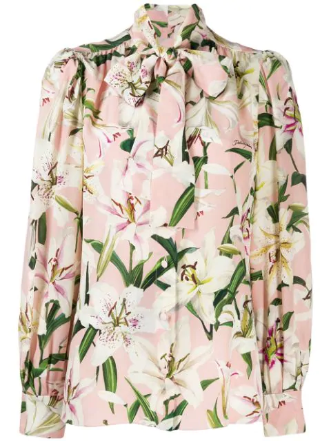Dolce & Gabbana Pussy-Bow Shirt In Lily-Print Crepe De Chine In Hfkk8 Multicolor