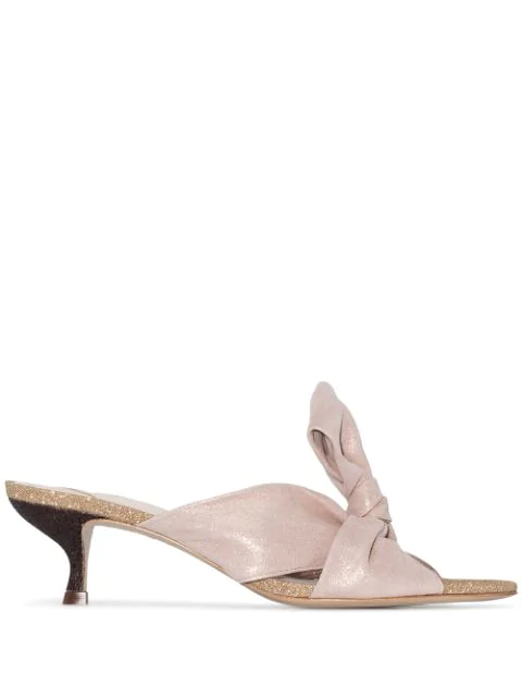 Sophia Webster Bonnie Glittered Bow Mules In Pink