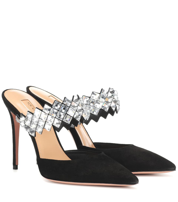 Aquazzura Talisman 105 Crystal-embellished Suede Mules In Black