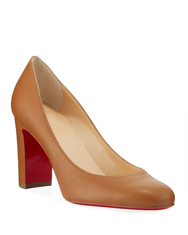reasonable price top design authentic quality Christian Louboutin Lady Gena Block-heel Leather Pumps In Beige ...