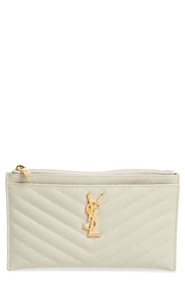 acedb2bc647 Saint Laurent Monogram Ysl Matte Quilted Bill Pouch Wallet, White In  Cremasoft
