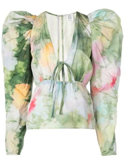 Rosie Assoulin Victorian Puff-sleeve Top In Green