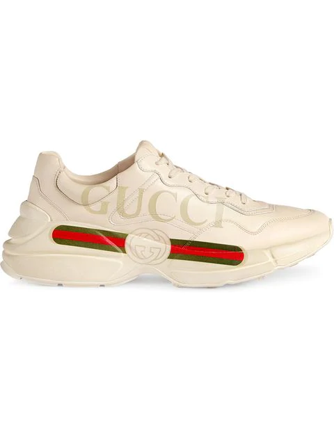 Gucci White Rhyton Logo Print Leather Sneakers In Neutrals