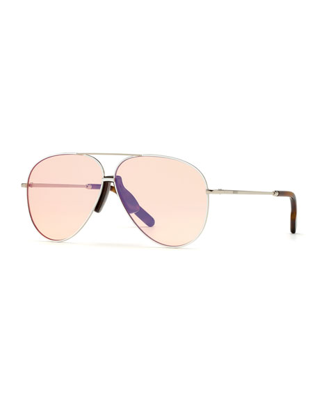 Kenzo Men's Metal Aviator Sunglasses In Peach
