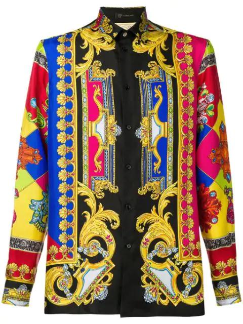 Versace Men's Multi Jewels Printed Long-Sleeve Silk Shirt In Black