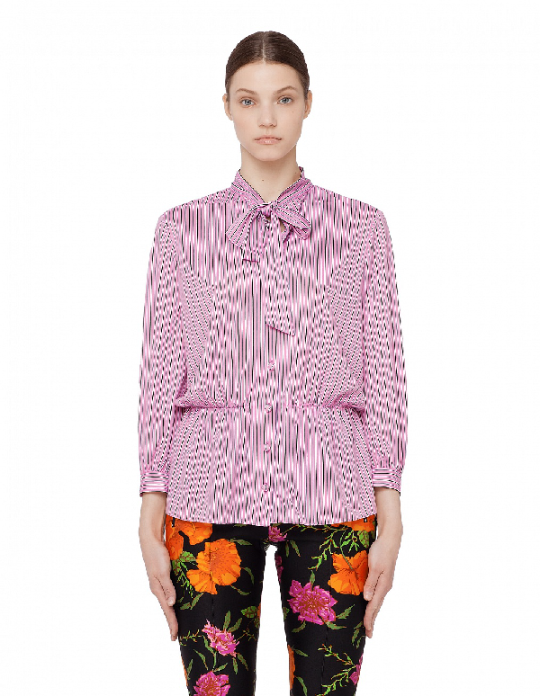 Balenciaga Lavalliere Bow Tie Blouse In Pink