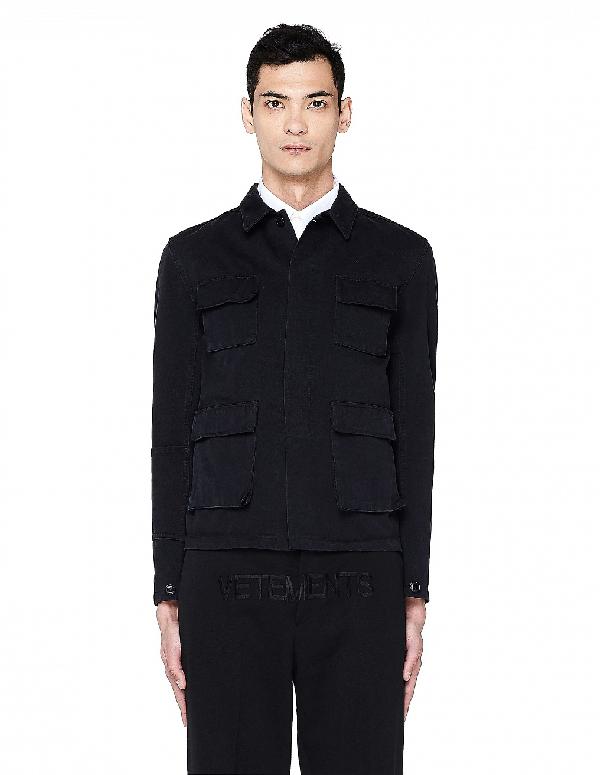 Vetements Black Cotton Printed Jacket