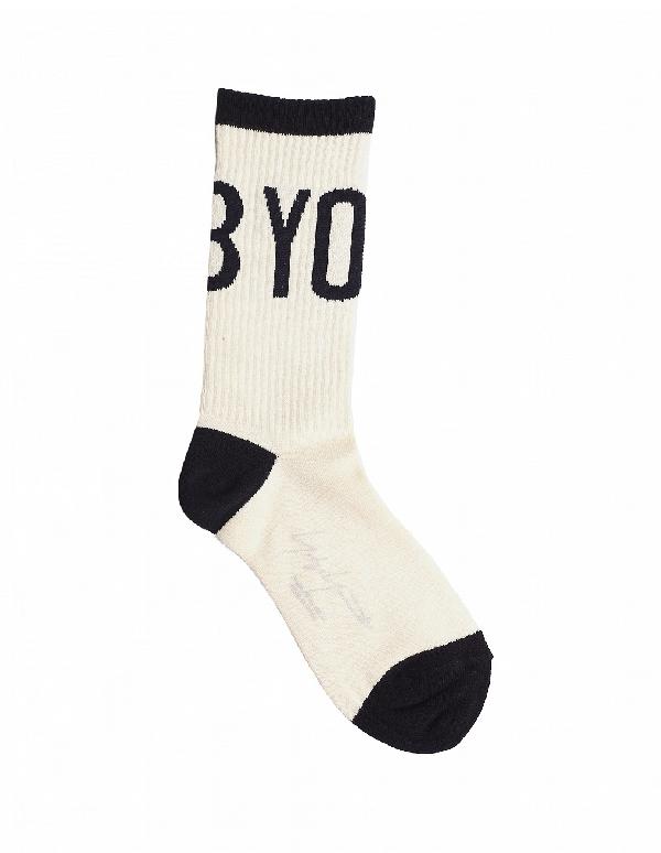 Yohji Yamamoto White Logo Socks