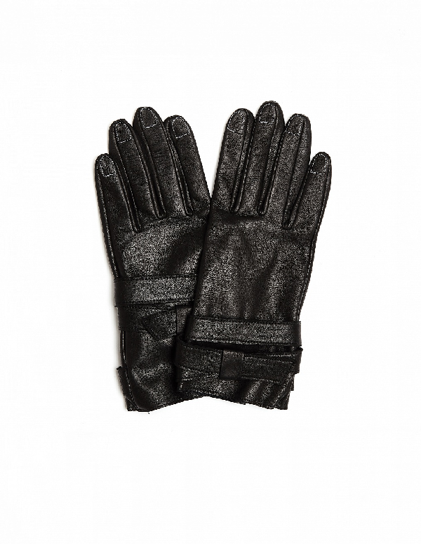 Yohji Yamamoto Leather Gloves With Contrast Stitches In Black