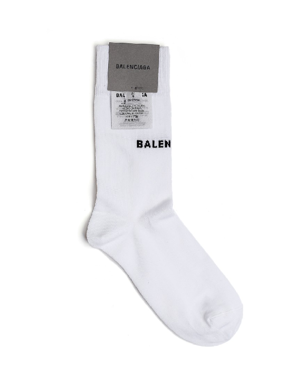 Balenciaga White Cotton Logo Socks