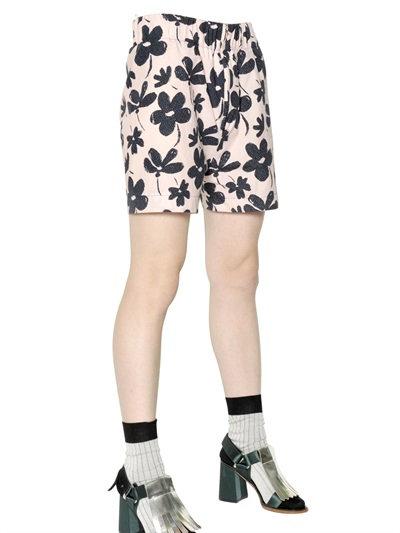 Marni Floral Cotton Poplin Shorts In Pink