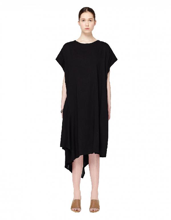 Yohji Yamamoto Asymmetric Wool Dress In Black