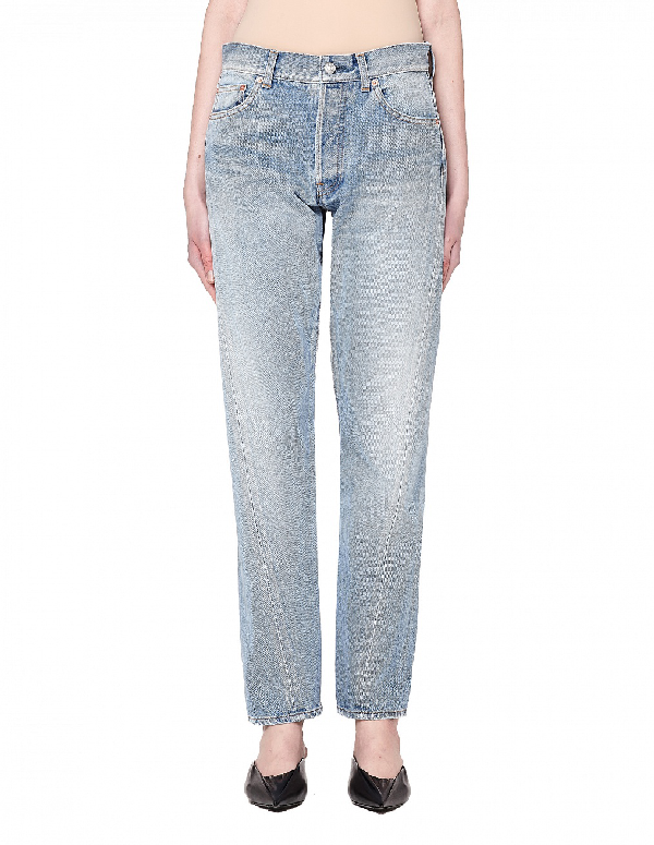 Balenciaga Women's Reglisse Twisted Leg Jeans In Blue