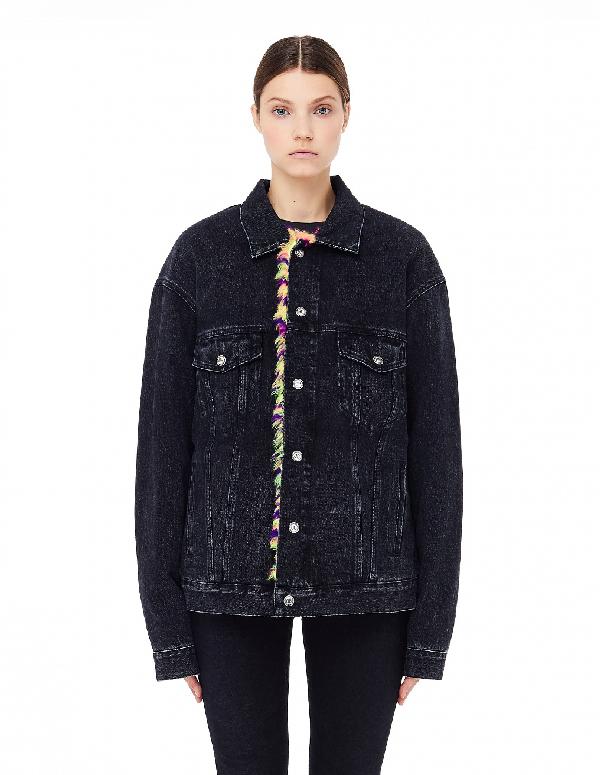 Balenciaga Denim Fur Jacket In Black