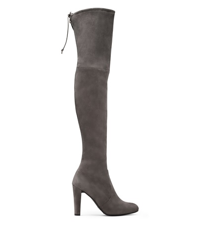 Stuart Weitzman The Highland Boot In Charcoal Suede