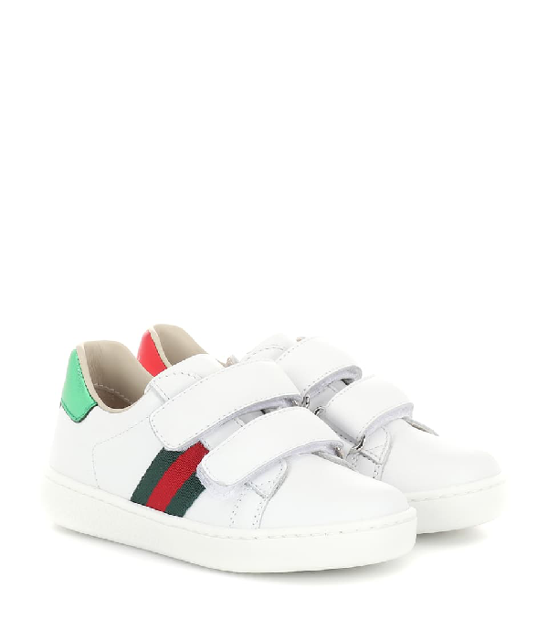 Gucci Kids' Leather Strap Sneakers In White