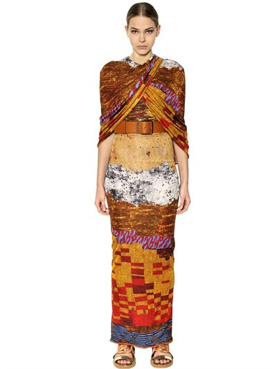 Givenchy Printed Viscose Jersey Long Dress In Multicolor