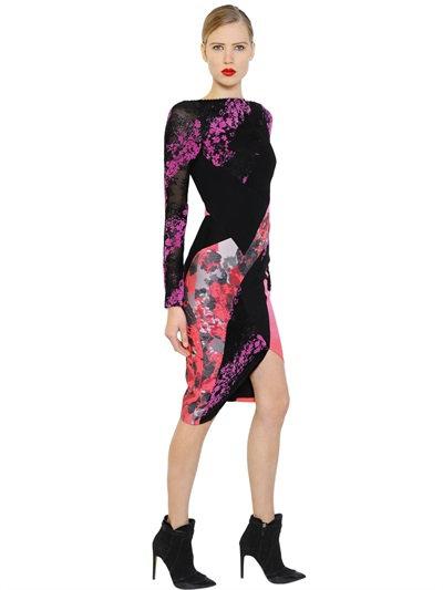 Antonio Berardi Floral Flocked Lace & Scuba Dress In Black/Pink