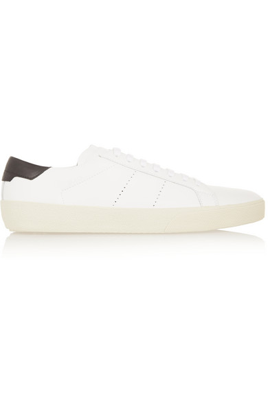 Saint Laurent Signature Court Sl/06 Sneaker In White And Black Leather In White/Black