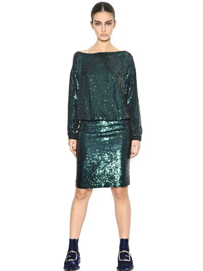Givenchy Sequined Silk Crepe Dress In Emerald