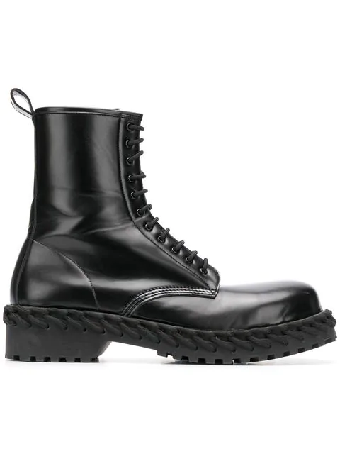 Balenciaga Lace Detail Military Boots In Black