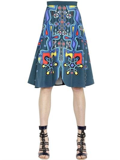 Peter Pilotto Printed Crepe Midi Skirt In Multicolor