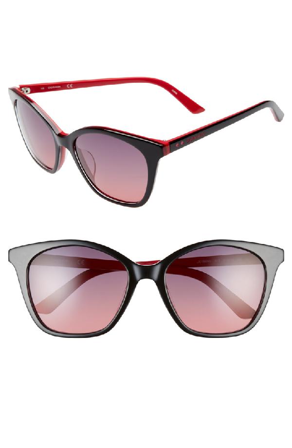 1e87e2a33d61 Calvin Klein 54Mm Cat Eye Sunglasses - Black/ Red