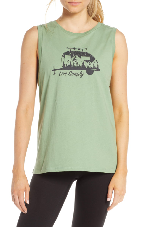 Patagonia Live Simply Trailer Graphic Muscle Tee In Matcha Green