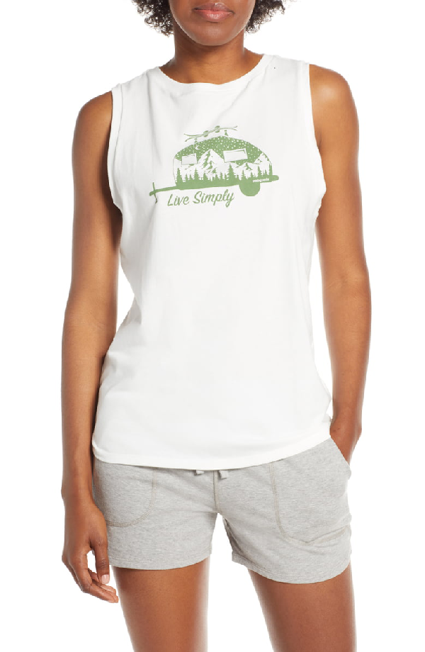 Patagonia Live Simply Trailer Graphic Muscle Tee In White