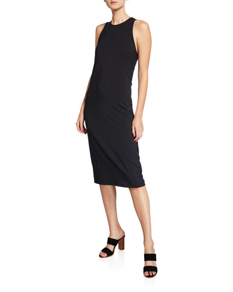 Joie Mikaya Stretch Cotton Blend Tank Dress In Caviar