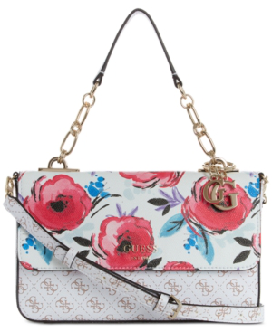 Guess Logo Rock Floral Top Handle Crossbody In White Multi/Gold