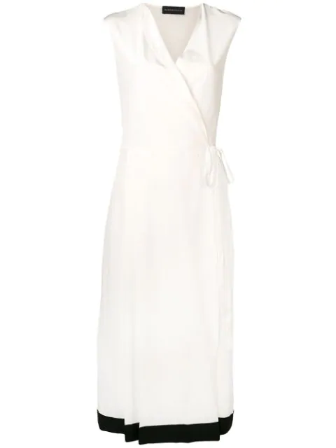 Cashmere In Love Crepe Envelope Wrap Dress In White