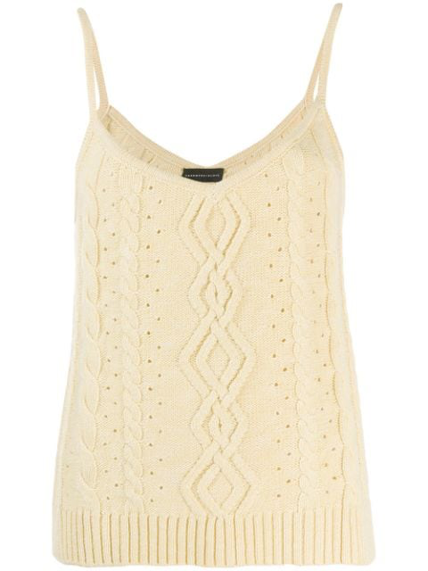 Cashmere In Love Stricktop Mit Zopfmuster In Yellow