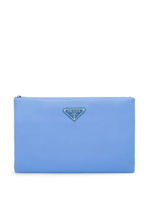 Prada Padded Clutch Bag In Blue