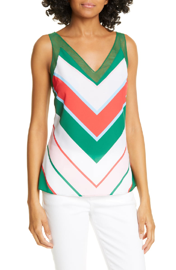 Ted Baker Paisly Tutti Frutti Stripe Top In White
