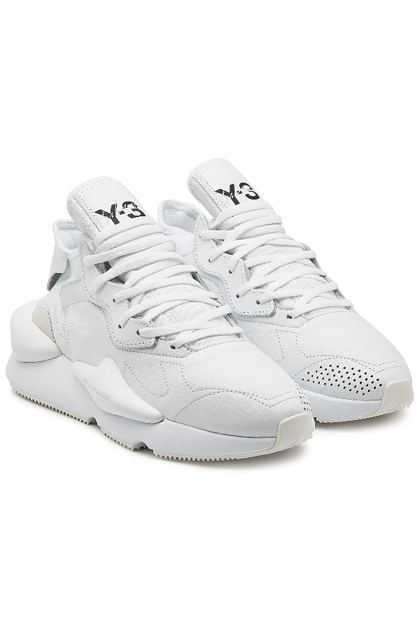 Y-3 Kaiwa Leather Sneakers In White