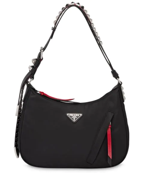 Prada Studded Hobo Bag In Black