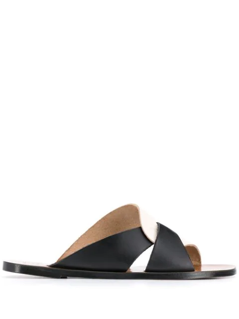 Atp Atelier Allai Leather Sandals In Black