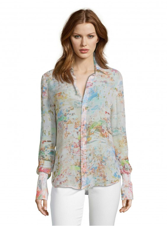 Robert Graham Women's Gabriela Beach Printed Silk Shirt With Mother Of Pearl Buttons Size: S By  In Multicolor
