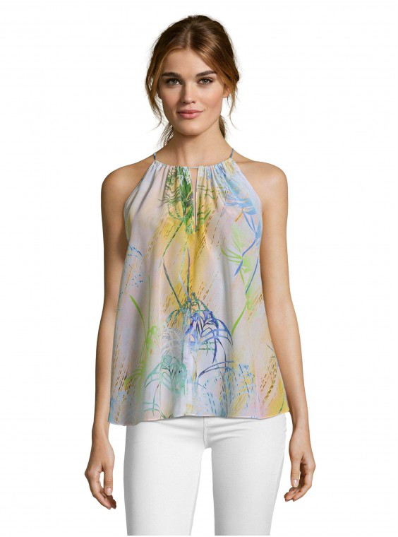 Robert Graham Women's Alina Soft Palm Printed Silk Tank Size: Xl By  In Multicolor