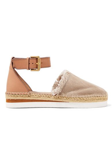 See By ChloÉ Leather And Canvas Platform Espadrilles In Mushroom