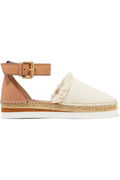 See By ChloÉ Leather And Canvas Platform Espadrilles In Ivory