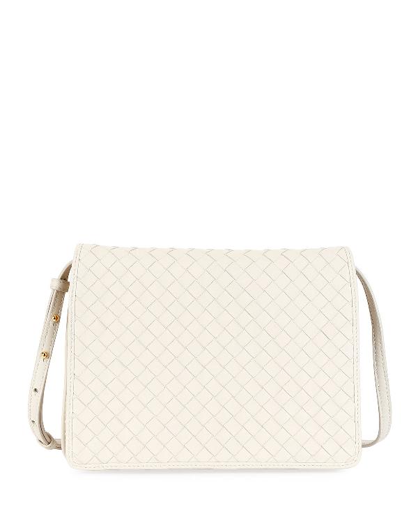 d40180d6707dd Bottega Veneta Intrecciato Leather Flap Shoulder Bag, White