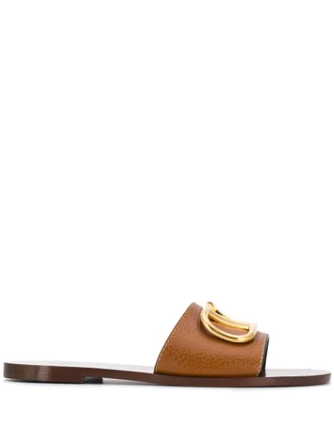 Valentino Garavani Grainy Cowhide Sandal With V Logo Buckle In Brown