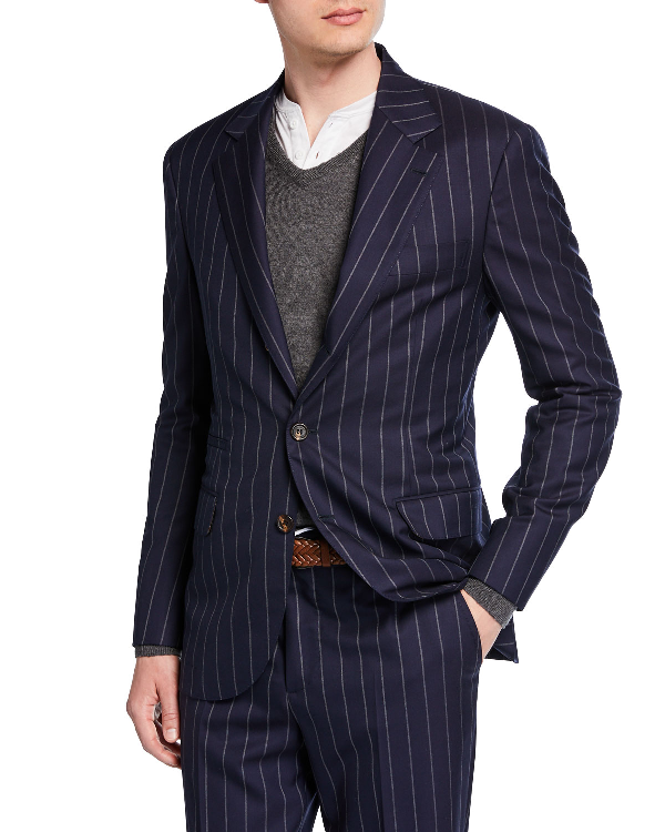 Brunello Cucinelli Men's Wide Pinstriped Two-Piece Suit In Navy