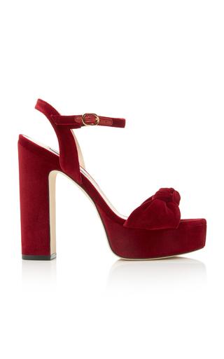 Stuart Weitzman Mirri Suede Block-heel Platform Sandals In Burgundy