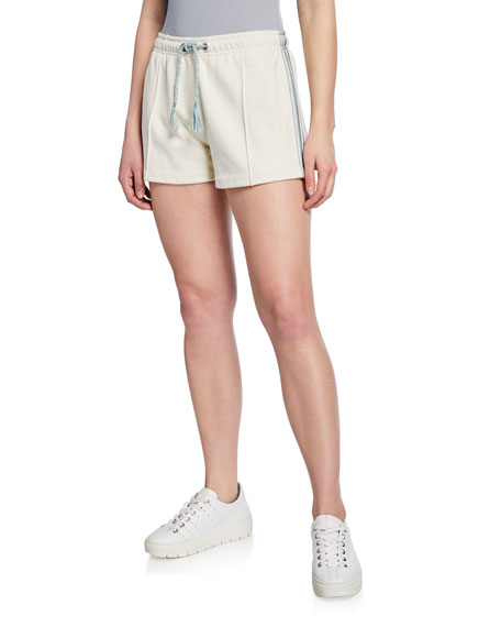 Rag & Bone Molly Striped-trim Drawstring Shorts In Ivory