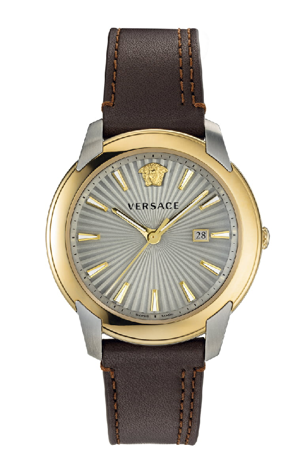 Versace Men's 42Mm Urban Watch W/ Leather Strap In Brown/ Silver/ Gold